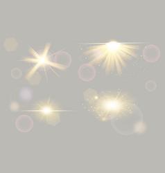set shining spotlights on transparent vector image