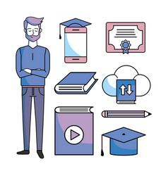 Set study man with education online certificate vector