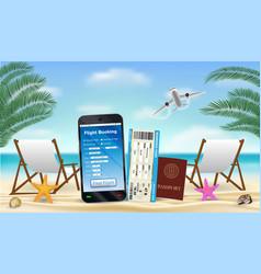smartphone with online flight booking app on beach vector image