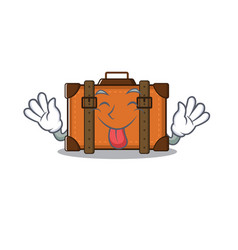 Suitcase with in cartoon tongue out shape vector