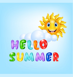 summer background with happy sun cartoon vector image vector image