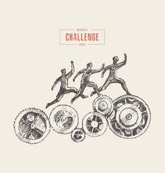 team running gear wheels business process vector image