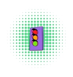 Traffic light icon comics style vector image