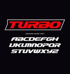 Turbo font heavy italic letters modern type vector