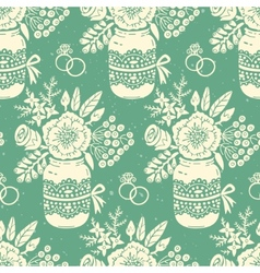 Vintage seamless pattern with a bouquet of flowers vector image