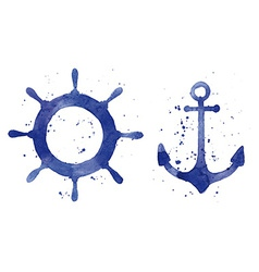Watercolor an anchor and a steering wheel vector