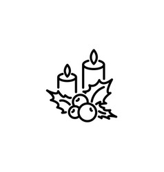 web line icon christmas candle and holly berry vector image