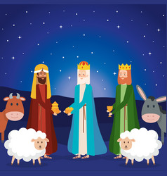 wise kings and animals manger characters vector image