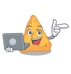 With laptop nachos character cartoon style vector