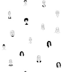 womens head seamless pattern background grunge vector image