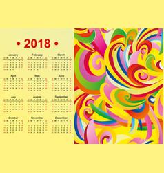 yellow english calendar 2018 year vector image