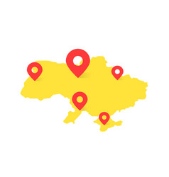 yellow ukraine map with red pin on white vector image
