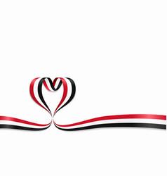 yemeni flag heart-shaped ribbon vector image