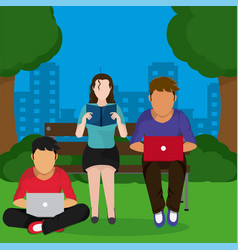 young people studying at park vector image
