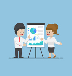businessman and businesswoman analyzing business vector image