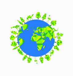 earth day planet animals and trees world vector image