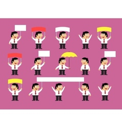 Set of office workers with blank banners vector image vector image