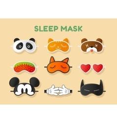 Sleeping masks set Face of animals heart fruit vector image