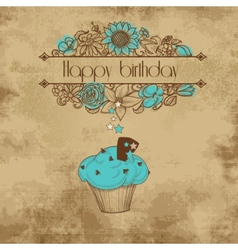 Vintage birthday party card old paper background vector image vector image