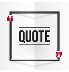 Black and red square quote frame at white folded vector image vector image
