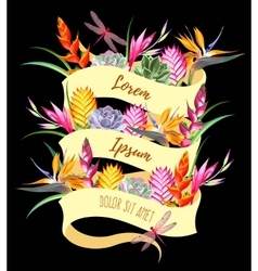 Card with ribbon and exotic flowers vector