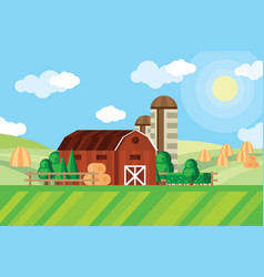 farm barn and grain storage on agricultural field vector image vector image