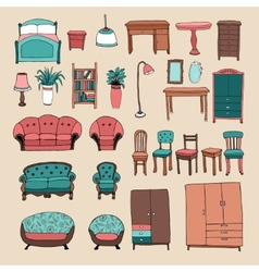 Furniture and home accessories icons set vector image vector image