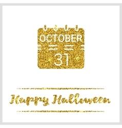 Halloween gold textured calendar icon vector