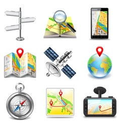 Maps and navigation icons set vector image