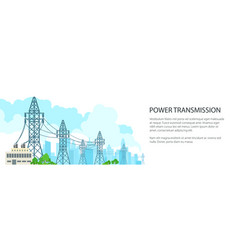 white banner of electric power transmission vector image vector image