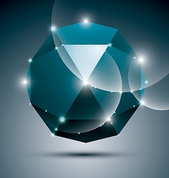 3D blue shiny sphere fractal dazzling abstract vector image