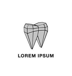 polygonal mesh and tooth abstract icon vector image vector image