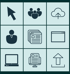 set of 9 web icons includes program website vector image vector image