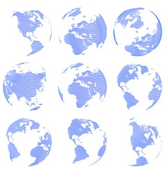 Set of nine abstract globe isolated on white vector image vector image