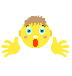 smiley boy with finger gesture with both hands vector image