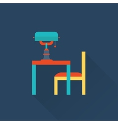 table and lamp flat library icon vector image