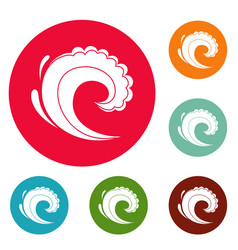wave water surfing icons circle set vector image