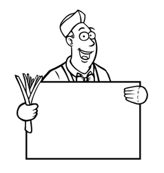 Black and white greengrocer holding a sign vector image vector image