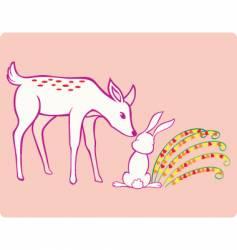 deer and rabbit vector image vector image