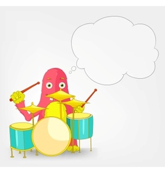 Funny Monster Drummer vector image