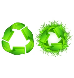 green recycle symbol isolated on white background vector image vector image