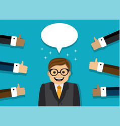 happy businessman all people approve vector image vector image