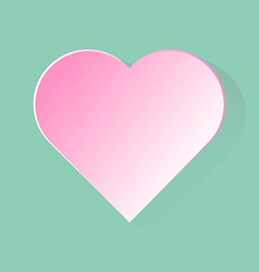 Pink heart with long shadow in green background vector image