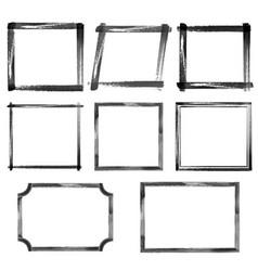 set of watercolor black grunge frames vector image