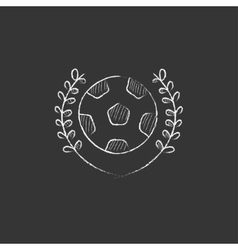 Soccer badge Drawn in chalk icon vector image