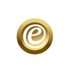 3d circle initial letter e in gold and white color vector image