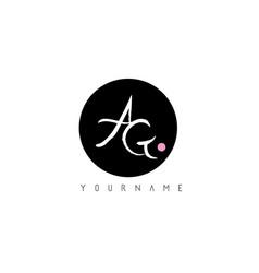 ag handwritten brush letter logo design with vector image