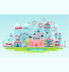 Amusement park landscape banner vector