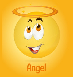 Angel face emoji with its description on yellow vector