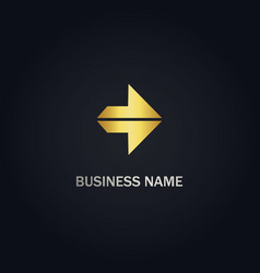 arrow right shape gold logo vector image